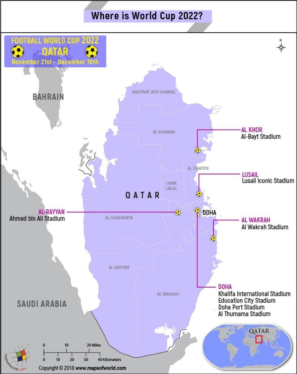 Carte Du Monde Qatar.Le Qatar De La Coupe Du Monde Des Stades De La Carte Carte De
