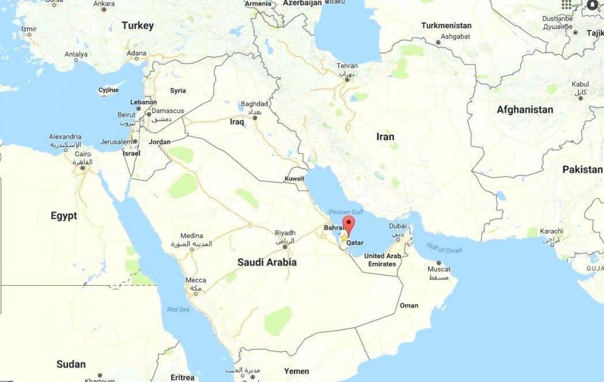 Carte Du Monde Qatar.Qatar Carte Dans La Carte Du Monde Qatar Carte Atlas Du Monde