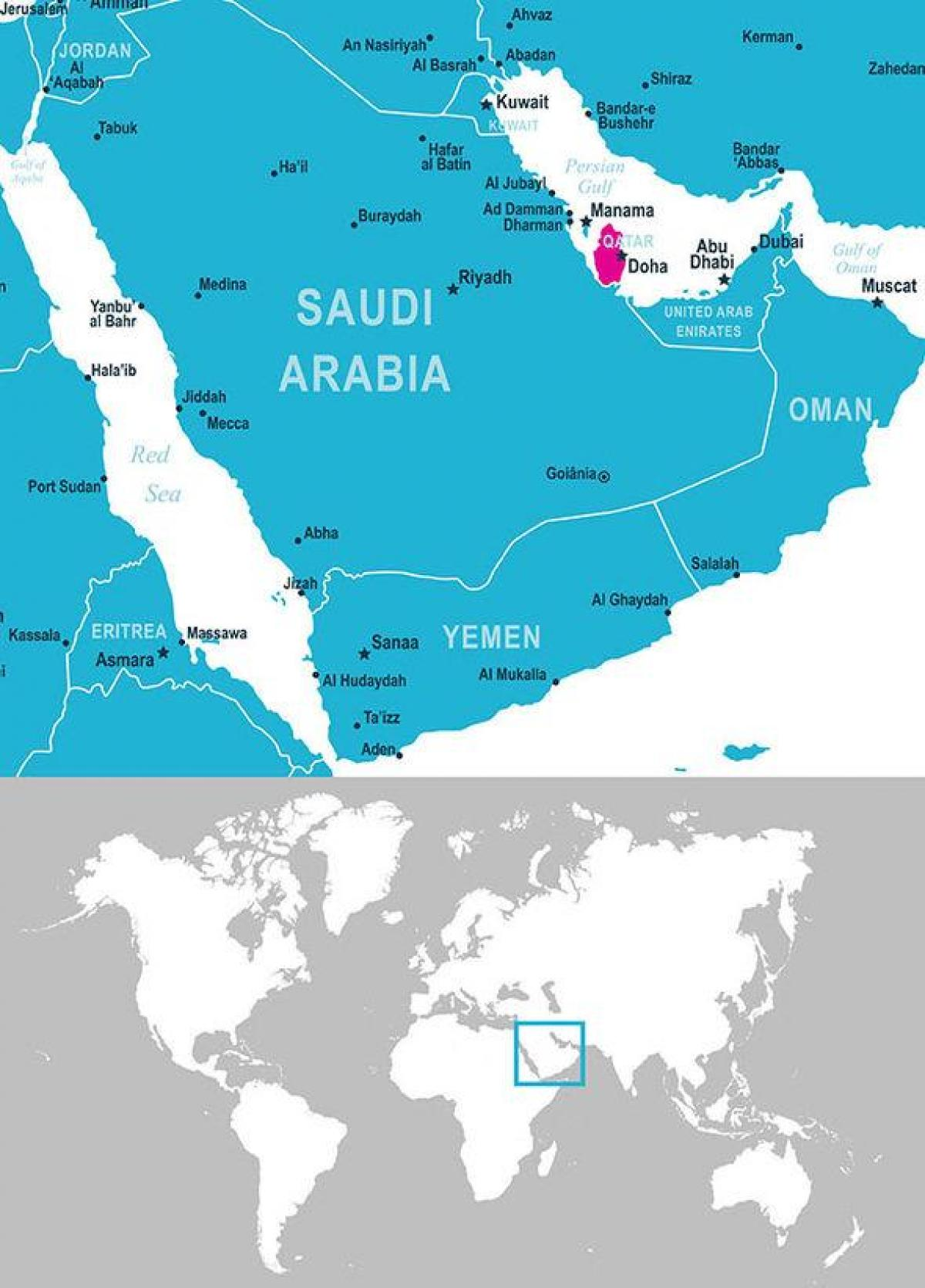 Qatar Dubai Carte.Qatar Emplacement De La Carte Carte De Qatar Emplacement